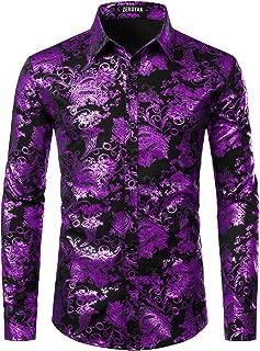 ZEROYAA Men's Luxury Paisley Gold Shiny Printed Stylish Slim Fit Button Down Dress Shirt