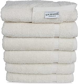 SALBAKOS Luxury Hotel & Spa Turkish Cotton 6-Piece Eco-Friendly Hand Towel Set 16 x 30 Inch, Ivory