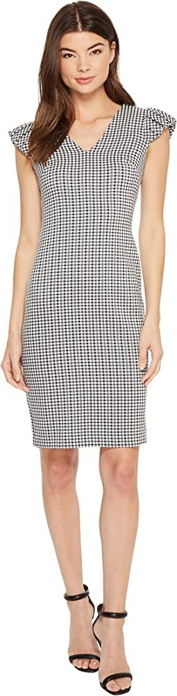 Calvin Klein Gingham Puff Sleeve Compression Sheath CD8E13GY