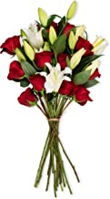 Benchmark Bouquets Red Roses & White Oriental Lilies (Vase not Included) – Fresh Flowers – Overnight Shipping and Delivery – Farm Fresh Flowers, White Flowers, Flower Arrangements, Bouquet of Flowers