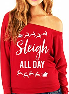 Sleigh All Day Christmas Slouchy Sweatshirt Red by NoBull Woman