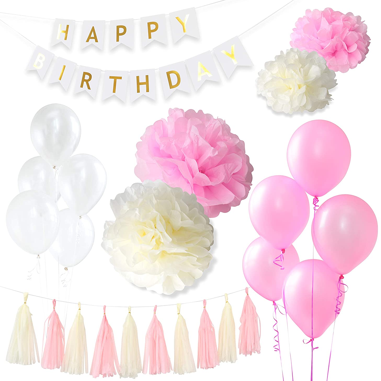 GreenBic Pink, White and Gold Birthday Decorations Bundle - Includes Happy Birthday Banner with Paper Flower Pom Poms, Tissue Tassels, Balloons, Great Decorations Pack for Boys or Girls Birthday Party