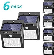 [42 LED / 3 Modos ] SEZAC Luces solares Luces con sensor de movimiento solar para exteriores, Luces de seguridad inalámbricas a prueba de agua para el garaje del jardín Camino (paquete de 6)