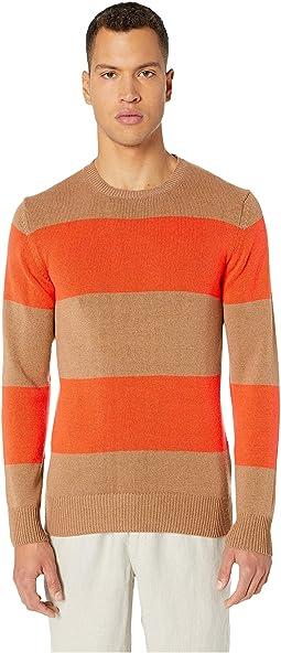 Rugby Stripe Cashmere Crew Neck Sweater