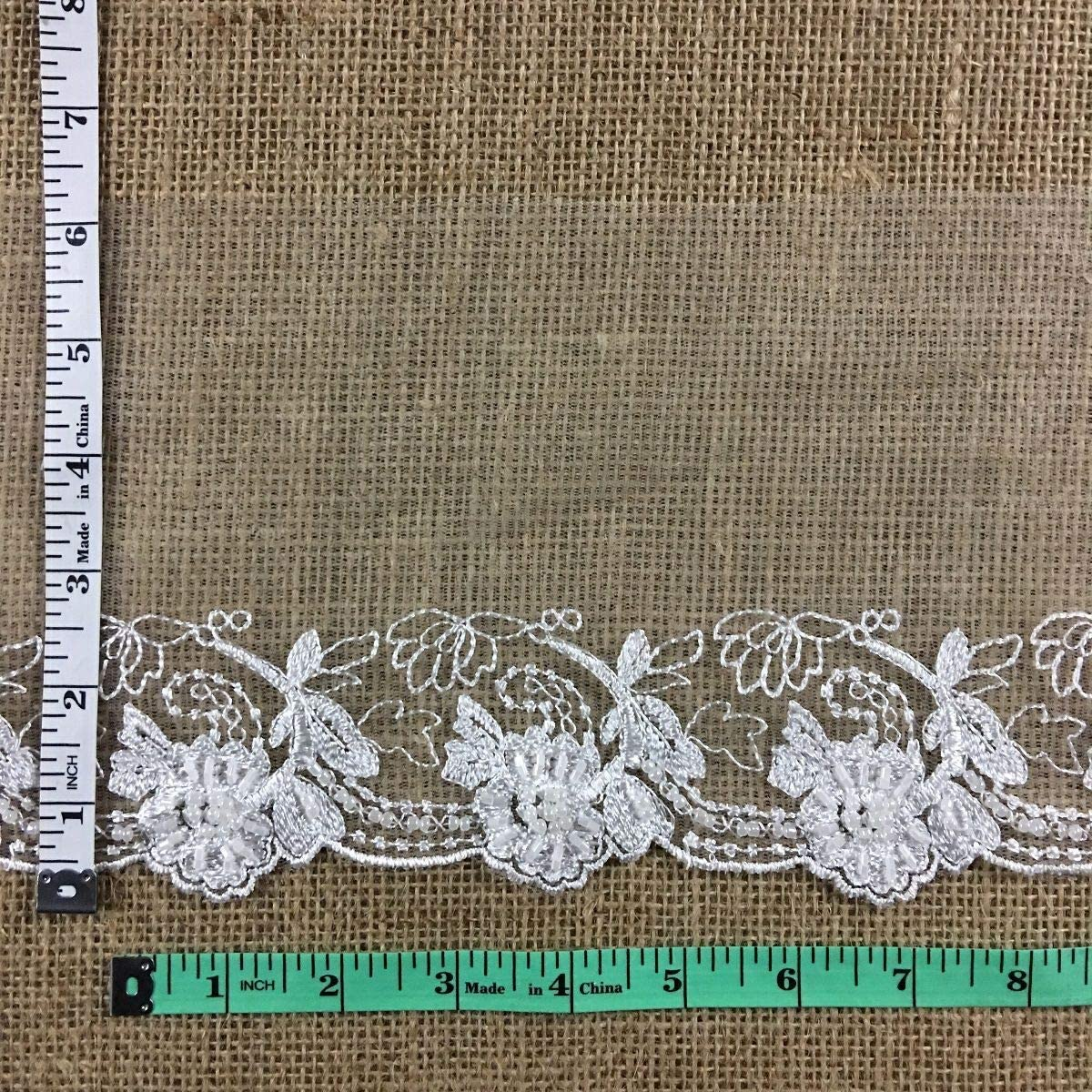 Bridal Lace Trim Alencon Embroidered Beaded Mesh Beautiful Floral, 3-6