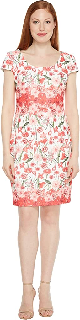 Floral Printed Sheath with Cap Sleeve