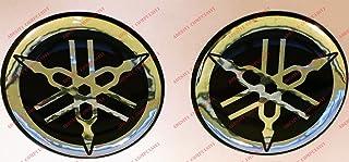 Escudo Logo Decal Yamaha, par pegatinas resinati, efecto 3d. ) Color Negro–Cromo. Para depósito o casco