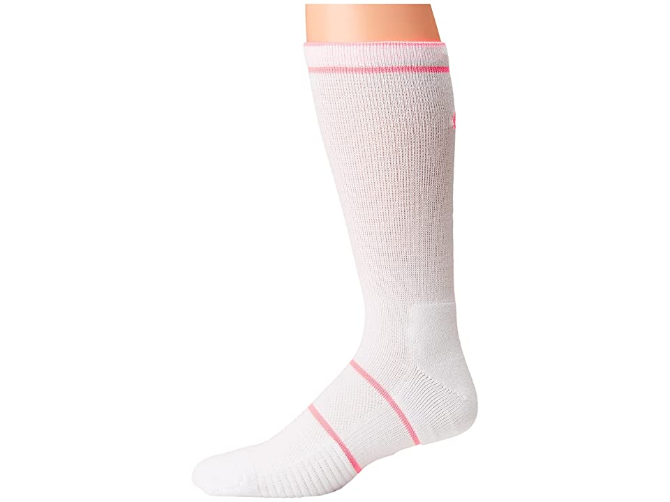 Nike NikeCourt Essentials Crew Tennis Socks (White/Lava Glow) Crew Cut Socks Shoes