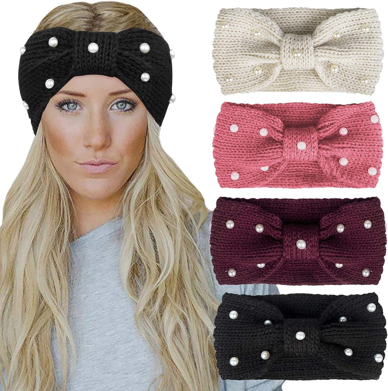 Chalier 4 Pack Winter Headbands for Women Warm Crochet Turban Knitted Ear Warmer Headband Vintage Bow Hairband with Pearl