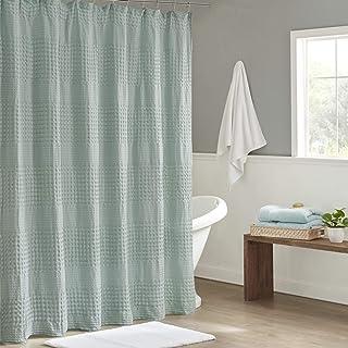 Madison Park Arlo 100% Cotton Shower Curtain, Texture Waffle Weave Design 800 GSM Hotel Quality Soft Trendy Bathroom Déco...