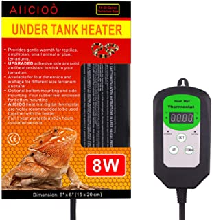 AIICIOO Digital Thermostat Reptile Heating Pad - Hermit Crab Heater with Temperature Control 8 Watt Heat Source for Reptiles Terrarium