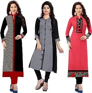 RAMDEV Women's Cotton Straight Kurta (Pack of 3) (Combo Kurti for Girl2_Multi_Free Size)