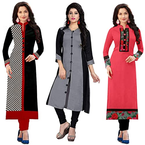 864361f1a28 Ramdev Women s Cotton blend Semi-Stitched Combo Of 3 Kurti (Multicolor Free  Size)