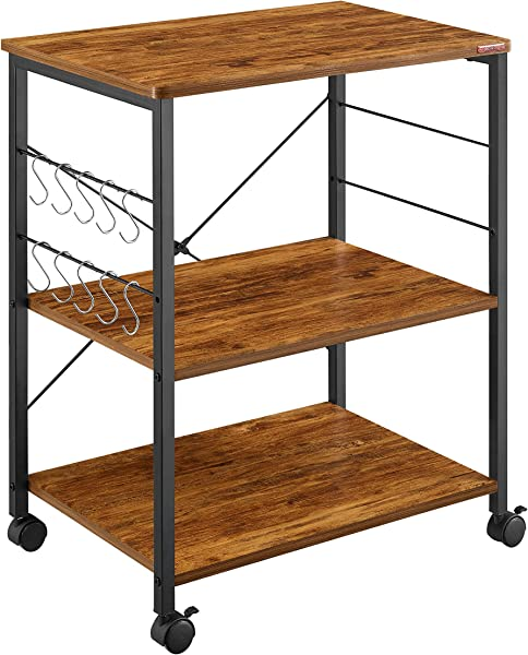 Mr IRONSTONE Kitchen Microwave Cart 3 Tier Kitchen Utility Cart Vintage Rolling Bakers Rack With 10 Hooks For Living Room Decoration