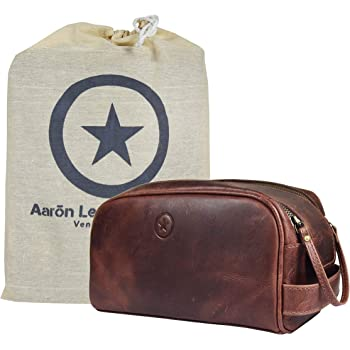 """10"""" Premium Leather Toiletry Travel Pouch With Waterproof Lining 