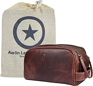 """10"""" Premium Leather Toiletry Travel Pouch With Waterproof Lining   King-Size Handcrafted Vintage Dopp Kit By Aaron Leather Goods (Walnut - Dual Zipper)"""