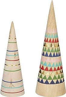 RAZ Imports Whimsical Wooden Christmas Tree Set - Boho Christmas Decor - Modern Christmas Decor - Set of 2