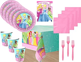 Princess First Birthday Pink Party Supply Bundle for 16 Guests - Includes Plates, Napkins, Tablecover, Cups, Forks and Invitations