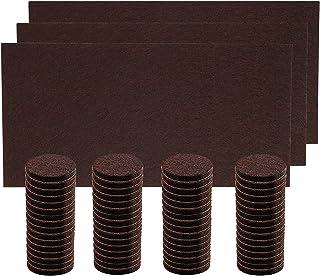 家具保護パッド 傷防止 フェルト フェルトシート フェルトパッド 64個円形+3枚方形 キズ防止・防音 家具 フェルト (ブラウン)