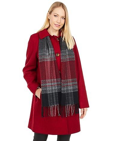 London Fog Short Button Front Wool Coat (Red) Women