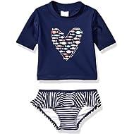 KIKO & MAX Girls Suit Set with Long Sleeve Rashguard Swim Shirt
