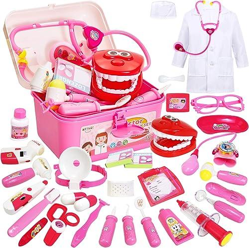 Buyger 35 Pièces Malette Docteur Enfant Jouet Deguisement Fille Garcon 3 Ans Jeu D'imitation, Malette Medecin, Rose
