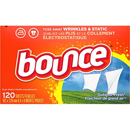 Bounce Dryer Sheets Laundry Fabric Softener, Outdoor Fresh Scent, 120 Count