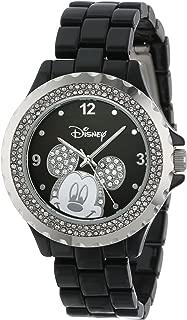 Disney Women's 56270-1B Mickey Mouse Rhinestone-Accented Black-Enamel Sparkle Watch