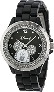 Disney Women's 56270-1B Mickey Mouse Rhinestone-Accented Black-Enamel Sparkle Watch