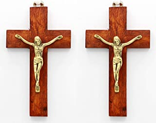 6 Inches Wall Mounted INRI Jesus Christ Wall Crucifix Cross Home Chapel Decoration- by Crystal Collection