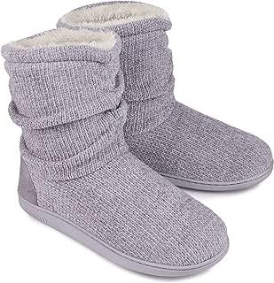 LongBay Women's Chenille Knit Bootie Slippers Cute Plush Fleece Memory Foam House Shoes