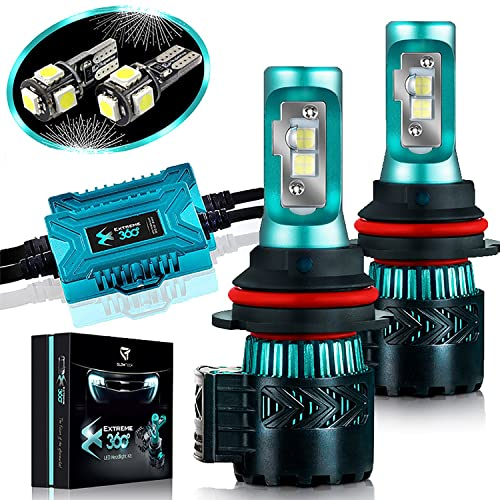 Glowteck LED Headlight Bulbs Conversion Kit - 9007(HB5) CREE XHP50 Chip 12000 Lumen