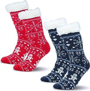 Camlinbo 2Pairs Christmas Fuzzy Socks, Winter Fleece Warm Socks, Christmas Slipper Socks Women Men Gold