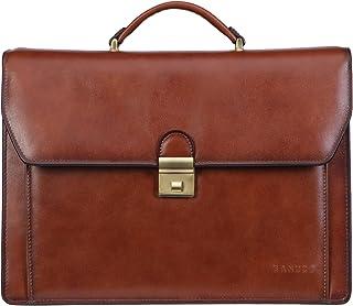 Banuce Vintage Genuine Leather Briefcase for Men Lock Lawyer Attache Case Laptop Messenger Bag