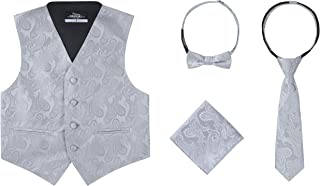 S.H. Churchill & Co. Boys 4 Piece Formal Paisley Vest and Tie Set - Includes Boys Vest, Bow Tie, Necktie & Pocket Hanky - Tapestry Print Tuxedo or Suit Waistcoat for Kids