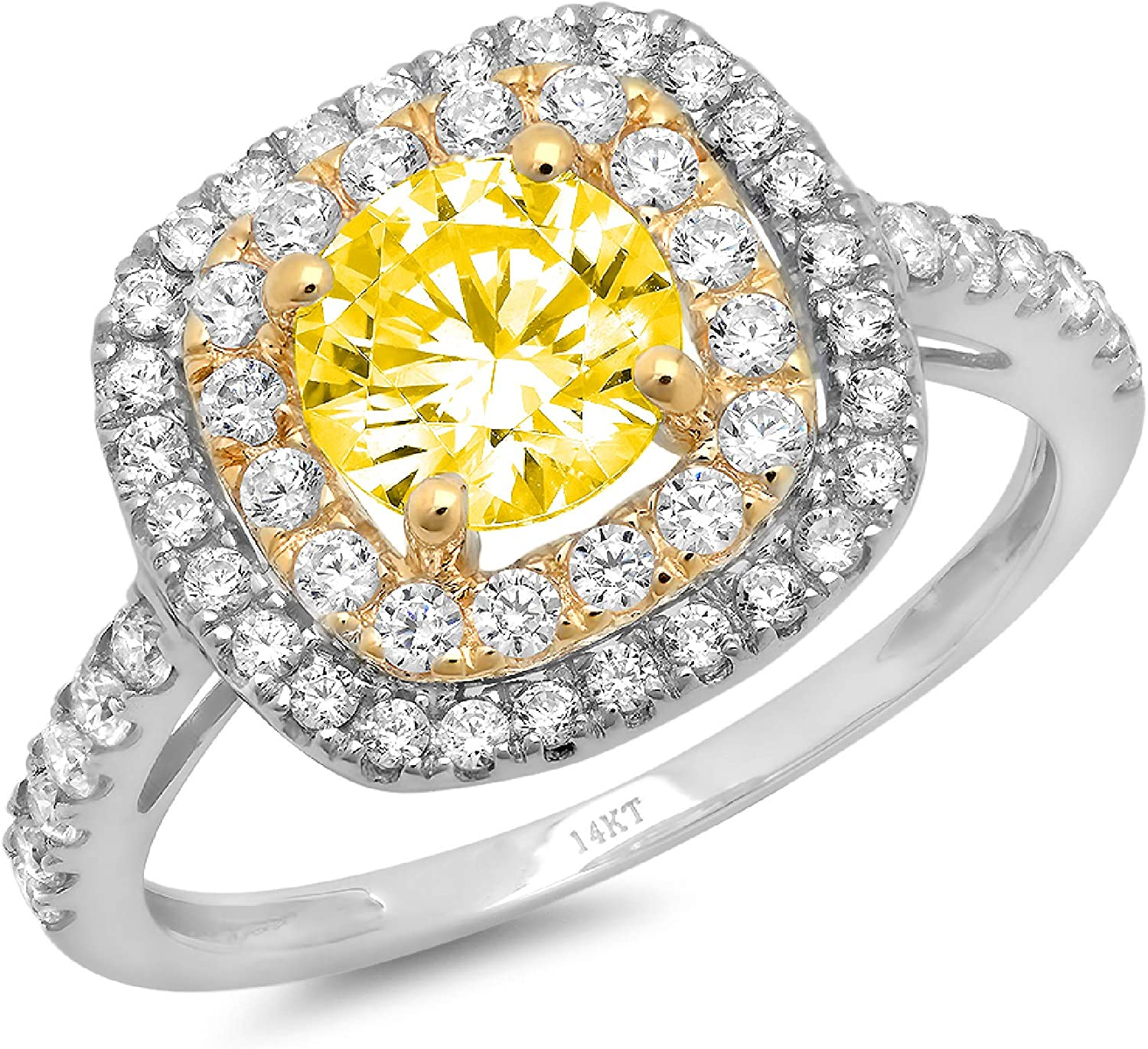 1.69ct Round Cut Solitaire double Halo Canary Yellow Ideal VVS1 Simulated Diamond CZ Engagement Promise Statement Anniversary Bridal Wedding Accent Ring 14k White & Yellow Gold