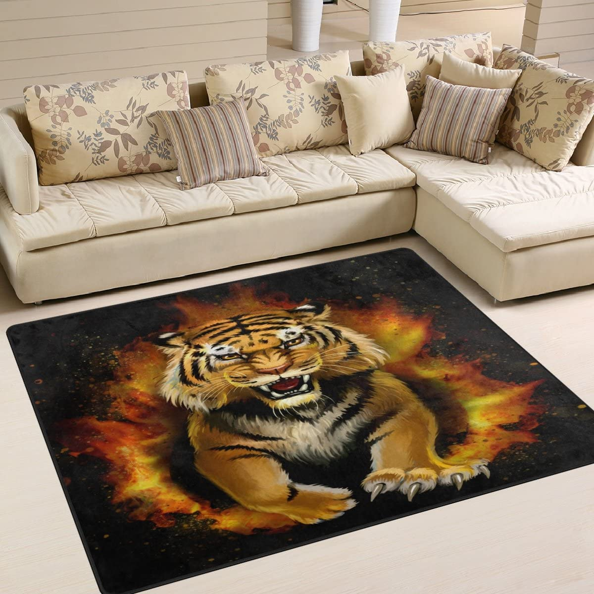 ALAZA Fire Tiger Area Rug Rugs Max 80% OFF for 5' Bedroom x New Free Shipping 7' Room Living