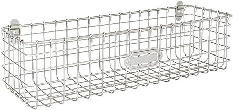 Spectrum Diversified Vintage Wall Mount Wire Basket Kitchen Pantry Bath & Entryway Storage Organizer Tray Bin with Label Plate, Silver