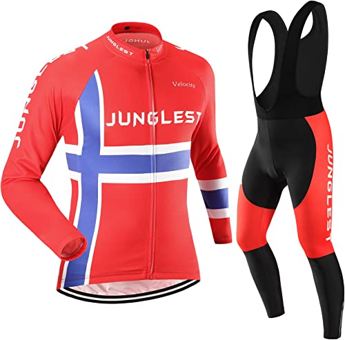 JUNGLEST Maillot de Cyclisme Homme Manches Longues Jersey(S5XL,Option Cuissard,3D Coussin) N9