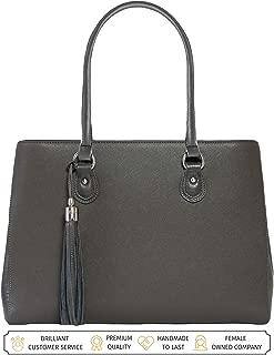 BfB Laptop Tote Bag For Women - Luxury Designer Computer Bag - Handmade Vegan Leather Laptop Shoulder Bag Multi-Pocket 13 Inch Computer Purse Laptop Handbag Carry on Bag - Travel Bags Women - GREY