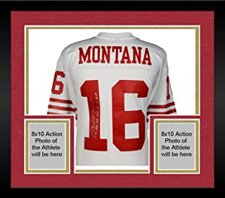Framed Joe Montana San Francisco 49ers Autographed Mitchell & Ness White Replica Jersey with