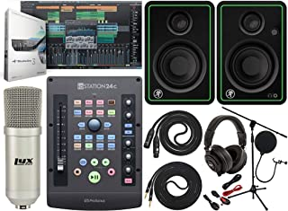 PreSonus ioStation 24c 2x2 USB-C Audio Interface and Production Controller With Mackie CR3-X BT Pair 2-Way Studio Bluetooth Monitors and Professional Microphone Kit