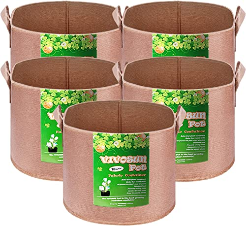 new arrival VIVOSUN 5-Pack 10 2021 Gallons outlet sale Heavy Duty Thickened Nonwoven Fabric Pots Grow Bags with Strap Handles Tan online sale