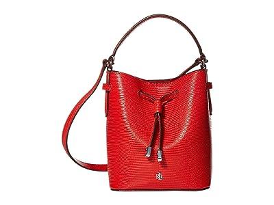 LAUREN Ralph Lauren Debby III Drawstring Mini (Sporting Red Lizard Embossed) Handbags