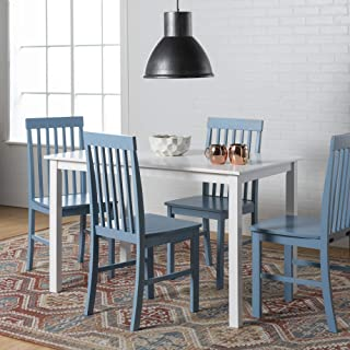 WE Furniture Modern Color Dining Room Table and Chair Set Small Space Living, 48 Inch, 4 Person, Blue
