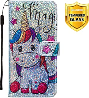 Lucifa Glitter Case for Huawei Y6 2019 / Honor 8A [With Tempered Glass Screen Protector] [Kickstand] Bling Sparkle Colorful Pattern Design Flip Magnetic Premium PU Leather Case (Horse)
