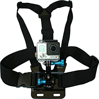 Chest Mount Harness for GoPro Cameras - Adjustable Body Strap Rig + 3-Way Adjustment Base with Aluminum Thumbscrew Kit - F...