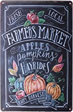SUMIK Farmers Market Apples Pumpkin Hayrides, Metal Tin Sign, Vintage Art Poster Plaque Kitchen Home Wall Decor