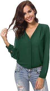Urban CoCo Womens V Neck Ruffled Shoulder Solid Chiffon Blouse