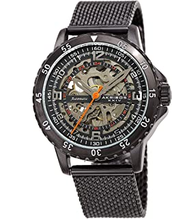 Akribos Automatic Skeleton Mechanical Men's Watch - Luxury Professional Mesh Bracelet See Through Dial - IP Case with A Skeletonized Dial - AK1098